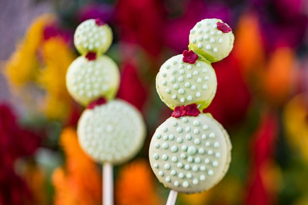 PHOTO: Disney Springs Amorette's Patisserie will be offering up a cute little cactus on a stick on April 22-28. A Cactus Macaron Lollipop consists of three French macarons filled with pistachio ganache and topped with icing.