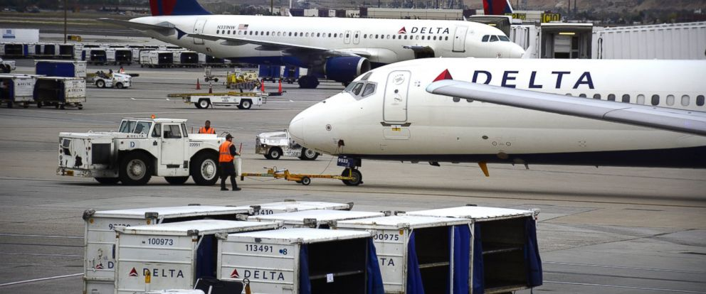 PHOTO: Delta Airlines passenger planes are pictured at Salt Lake City International Airport in Salt Lake City, Utah in this Oct. 28, 2015 file photo.