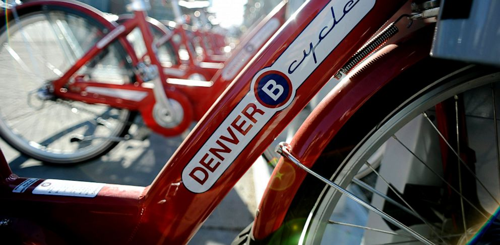 PHOTO: B-Cycle bikes sit on a rack in Denver.