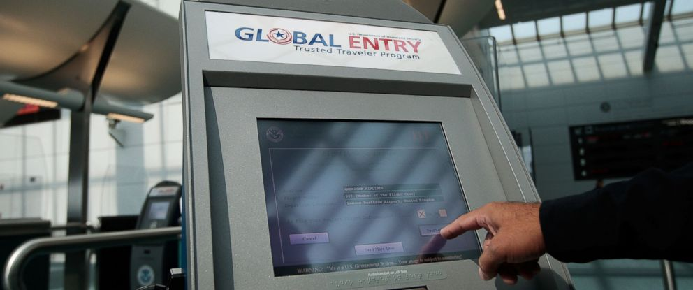 PHOTO: An officer with the US Customs and Border Protection demonstrates a new arrivals processing kiosk at Newark International Airport in this Aug. 24, 2009, file photo in Newark, New Jersey.