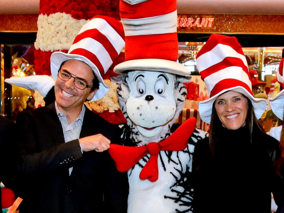PHOTO: Mark Tamis, Senior Vice President, Guest Operations of Carnival Cruise Lines, left, and Susan Brandt, President of Dr. Seuss Enterprises, right, with The Cat in the Hat characters.
