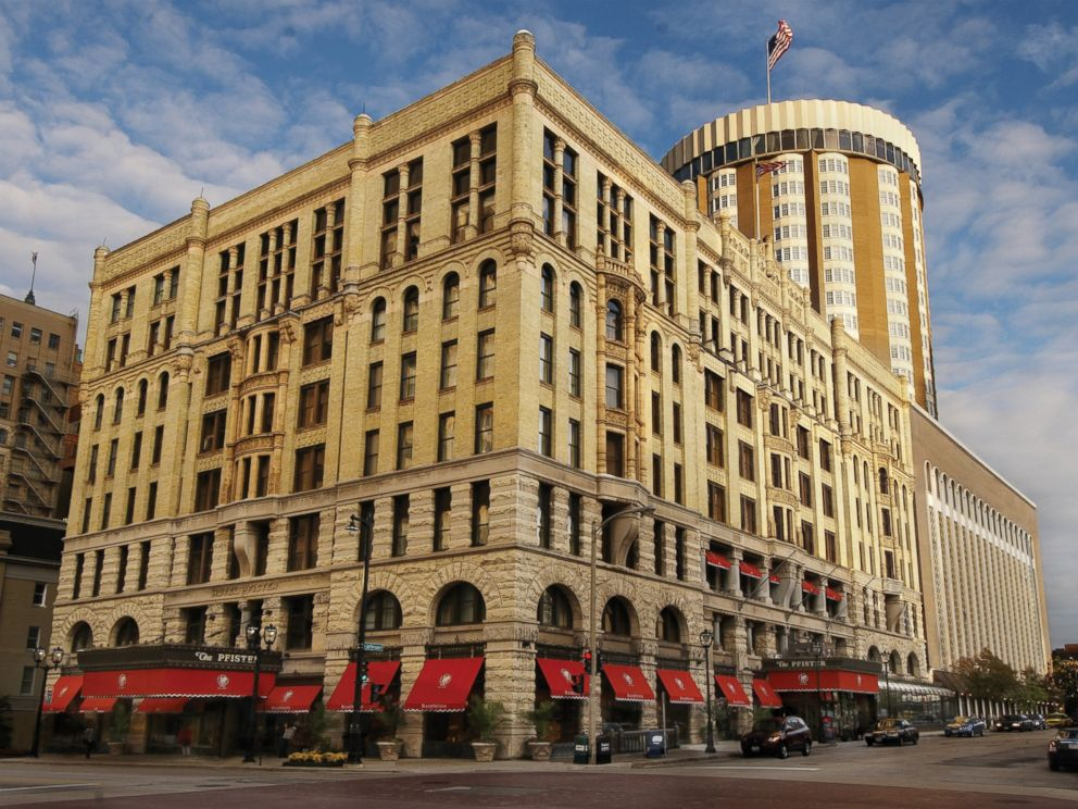 PHOTO: Here. the exterior of the historic Pfister hotel, where four generations of weddings in one family too place.