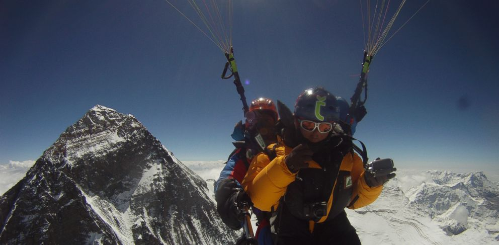 PHOTO: In a never before attempted feat, two Nepalis Sanobabu Sunuwar and Lakpa Tshiri Sherpa set their sights on paragliding from Everests summit and then taking a 700-mile kayaking trip on the Ganges River to the Indian Ocean.