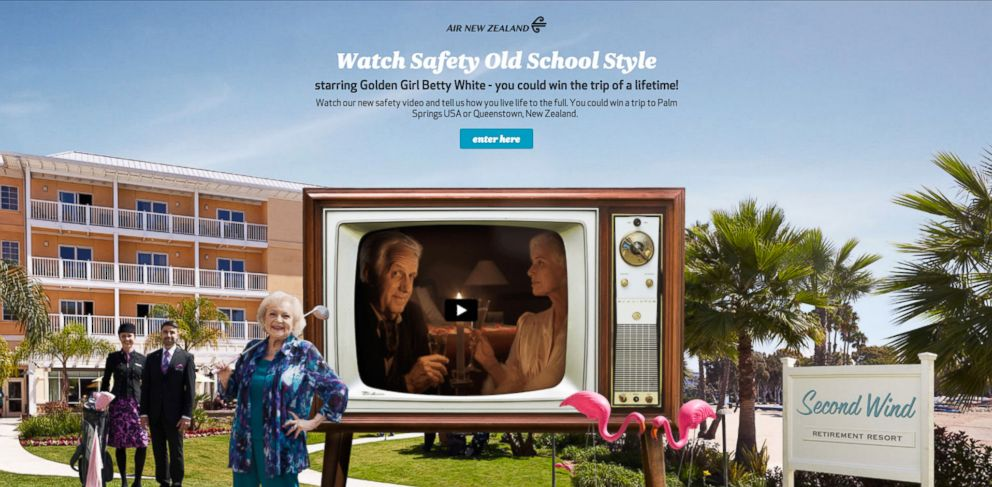 """PHOTO: Comedian Betty White appears in a new humorous video for Air New Zealand entitled """"Safety Old School Style"""""""