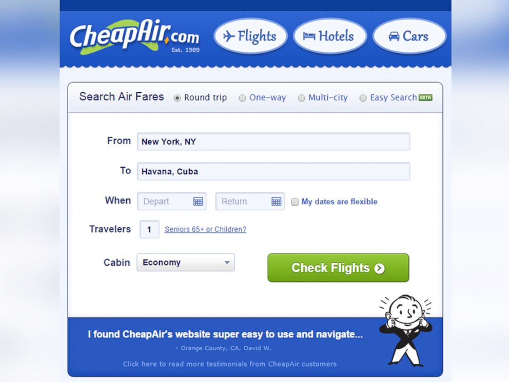 1851026958ba PHOTO  CheapAir.com selling flights from U.S. to Cuba.