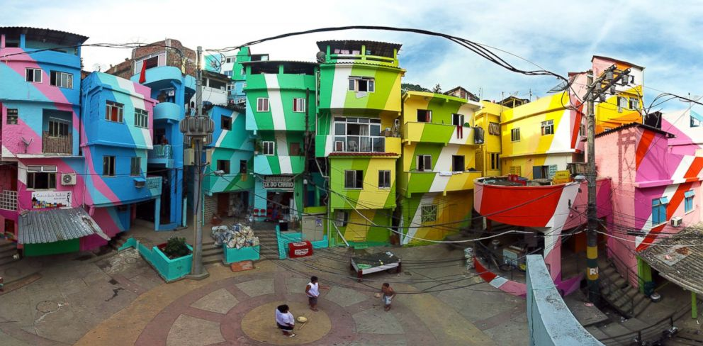 PHOTO: Dutch artists Haas and Hahn are planning to paint an entire favela in Rio de Janeiro in wild, colorful stripes, in an effort to revitalize the area.