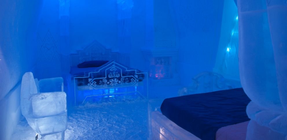 ice hotel quebec frozen themed hotel suite is with fans abc news 11280