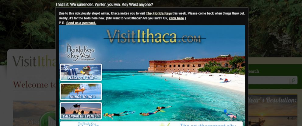 PHOTO: The tourism bureau of Ithaca, New York says that due to winter weather, people should instead consider visiting Key West, Florida.