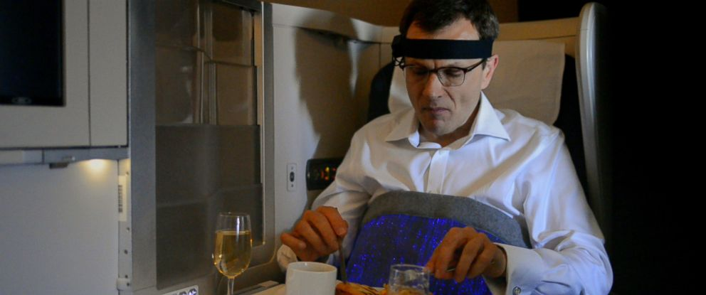 """PHOTO: British Airways recently tested a """"happiness blanket"""" that used wearable technology to measure passengers moods in flight."""