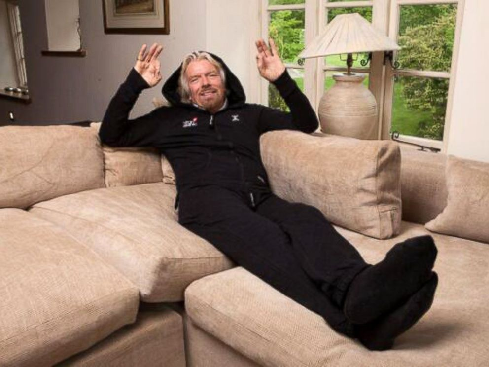 PHOTO: Virgin founder Richard Branson posted this photo to his Twitter, June 6, 2014, with the caption, Trying out the first ever airline onesie.