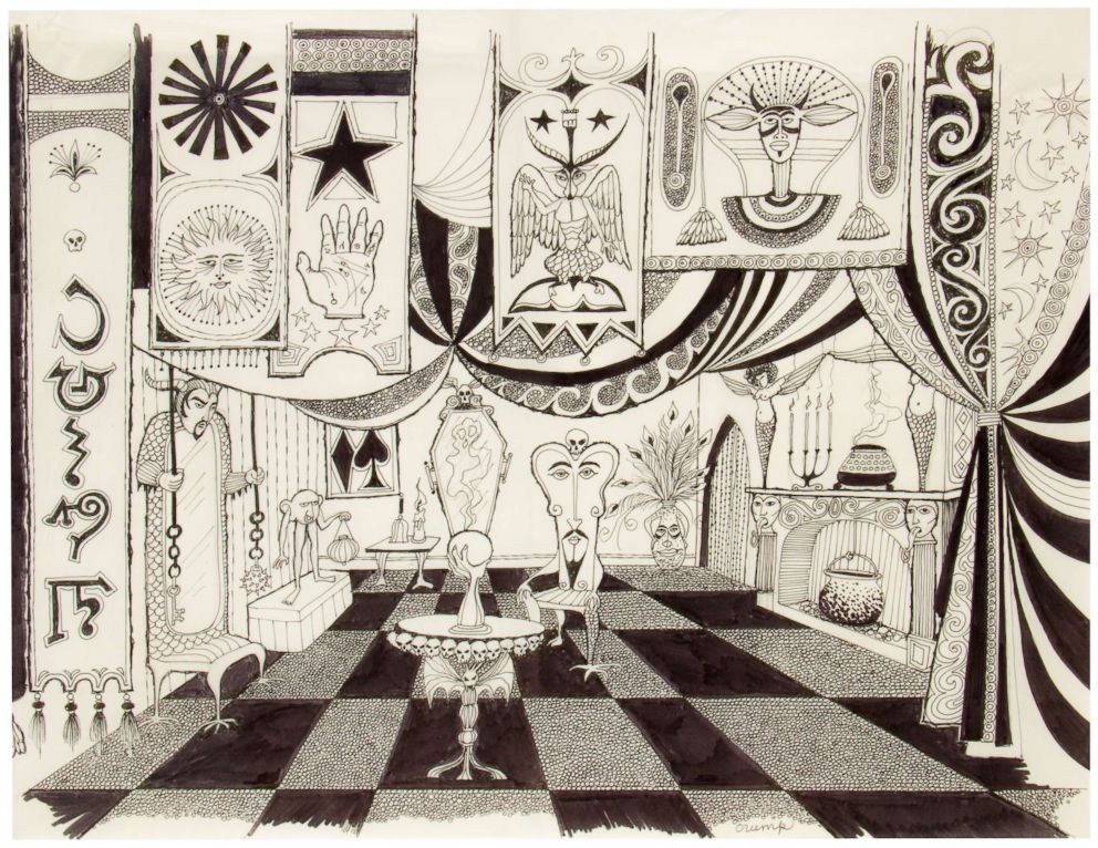 PHOTO: A sketch of a Weird Seance Room was originally part of Walt Disneys idea for The Museum of the Weird, at Disneylands Haunted Mansion attraction.