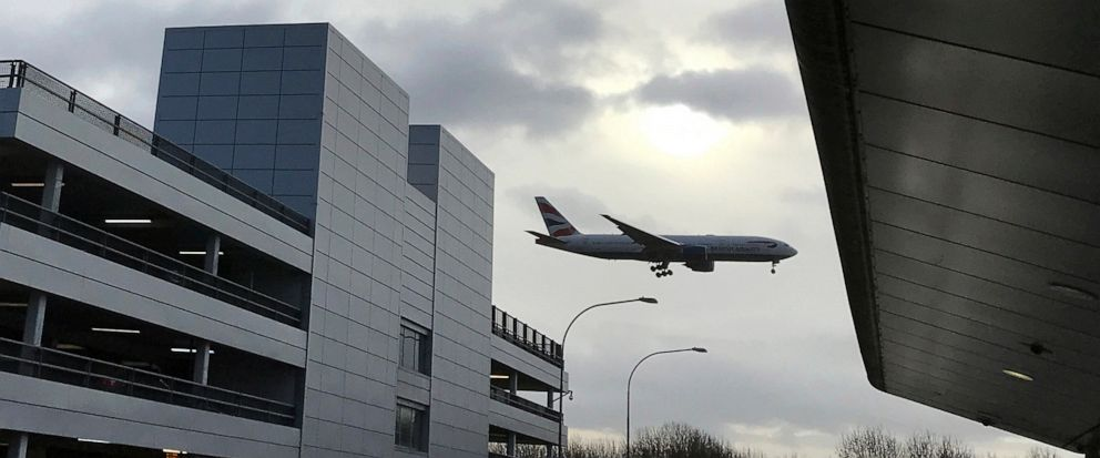 """FILE - In this file photo dated Friday, Dec. 21, 2018, a plane comes in to land at Gatwick Airport in England. According to a tweet issued Wednesday evening July 10, 2019, Londons Gatwick Airport has suspended all flights as a result of """"an air traf"""