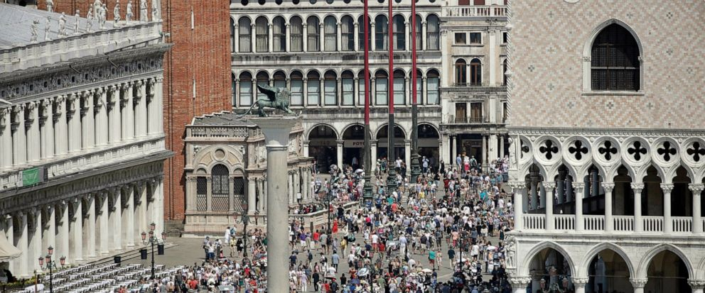 A view of the St. Marks Square in Venice, Italy, taken on June 8, 2019. As of July 1, day-trippers to the canal city of Venice will be assessed a visitor's tax. A city spokesman said Tuesday that the price of the tax would be established closer to t