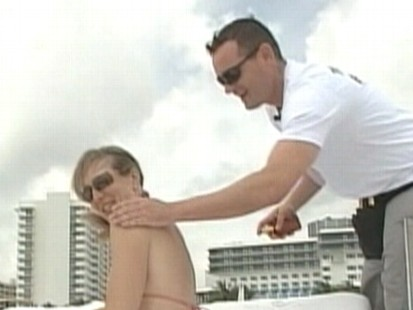 Video: Florida locals apply to be a tanning butler.