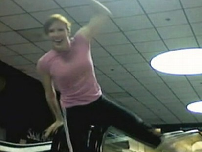 VIDEO: One woman records her overnight antics at an empty airport in Pittsburgh.