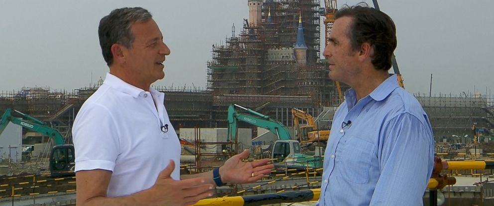 PHOTO: Disney CEO Bob Iger (left) tells ABC News Bob Woodruff (right) about plans for the new theme park in Shanghai, China, which is set to open in the spring of 2016.
