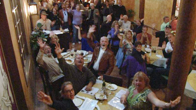 "PHOTO: American retirees celebrate ""gringo night"" in Cuenca, Ecuador."