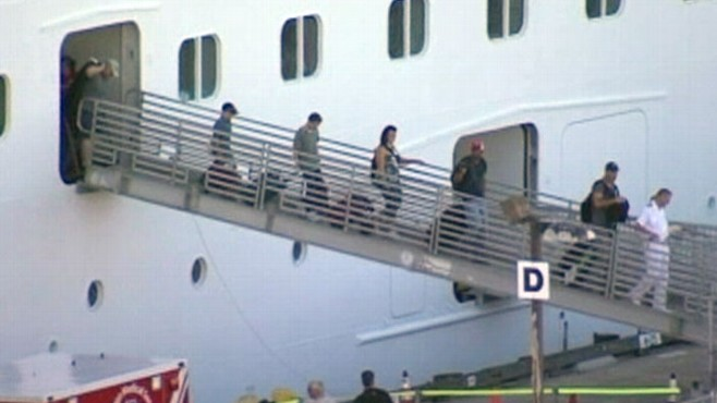 VIDEO: After being stranded at sea for three days, the cruise ship arrives in San Diego.