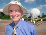 Photo: Steven Barrett, author of Hidden Mickeys, A Field Guide to Walt Disney Worldâ??s Best Kept Secrets, searches for hidden Mickey Mouse designs throughout Walt Disney World