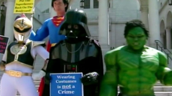 VIDEO: Costumed characters protest Los Angeles police ban on unlicensed performers.