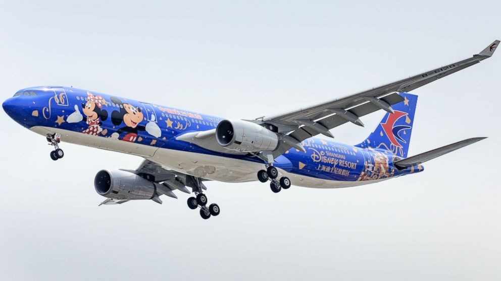 A Disney-themed Airbus A330-300 owned by China Eastern Airlines is pictured after arriving in Beijing, China, April 26, 2016.