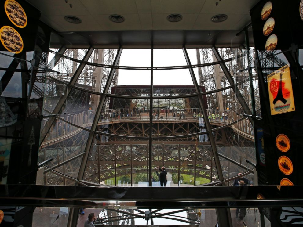 PHOTO: A view of the exhibition room with the new glass floor at The Eiffel Tower during the inauguration of the newly refurbished first floor, in Paris, France, Oct. 6, 2014.