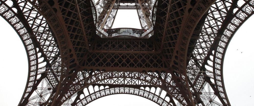 PHOTO: A general view looking up at the new glass floor at The Eiffel Tower during the inauguration of the newly refurbish first floor, in Paris, France, Oct. 6, 2014.