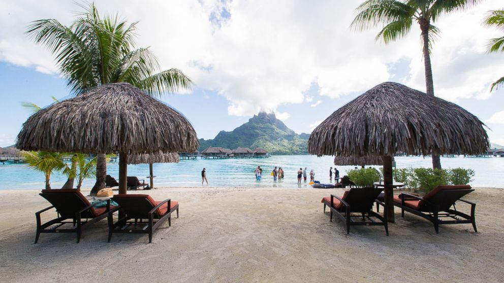 The beach at InterContinental Bora Bora resort and Thalasso Spa.