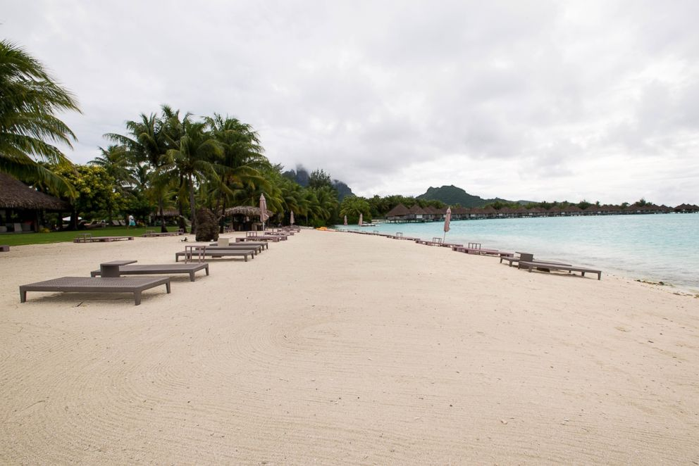 The beach at The St. Regis Bora Bora resort.