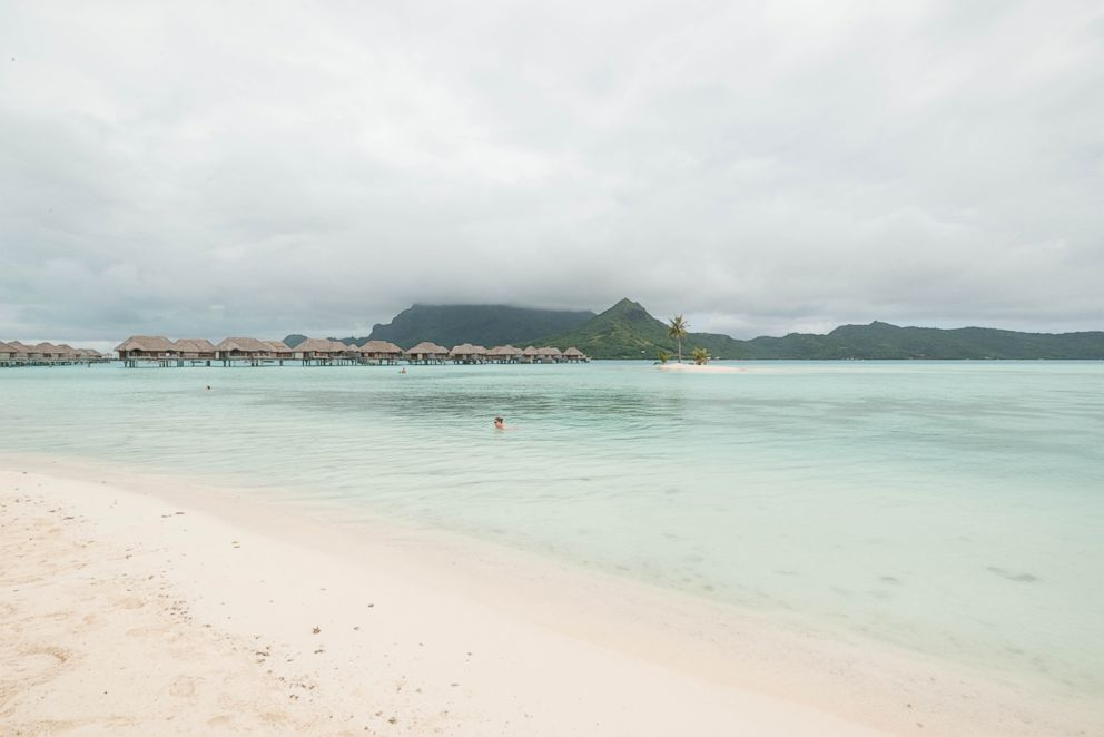 The beach at Four Seasons Resort Bora Bora.