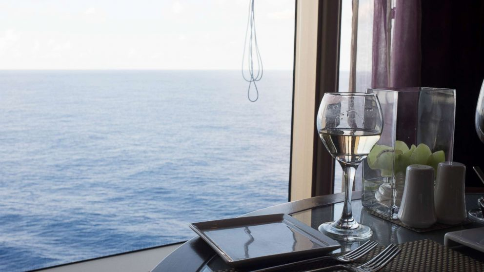 A glass of wine is seen on the Eurodam cruise ship.
