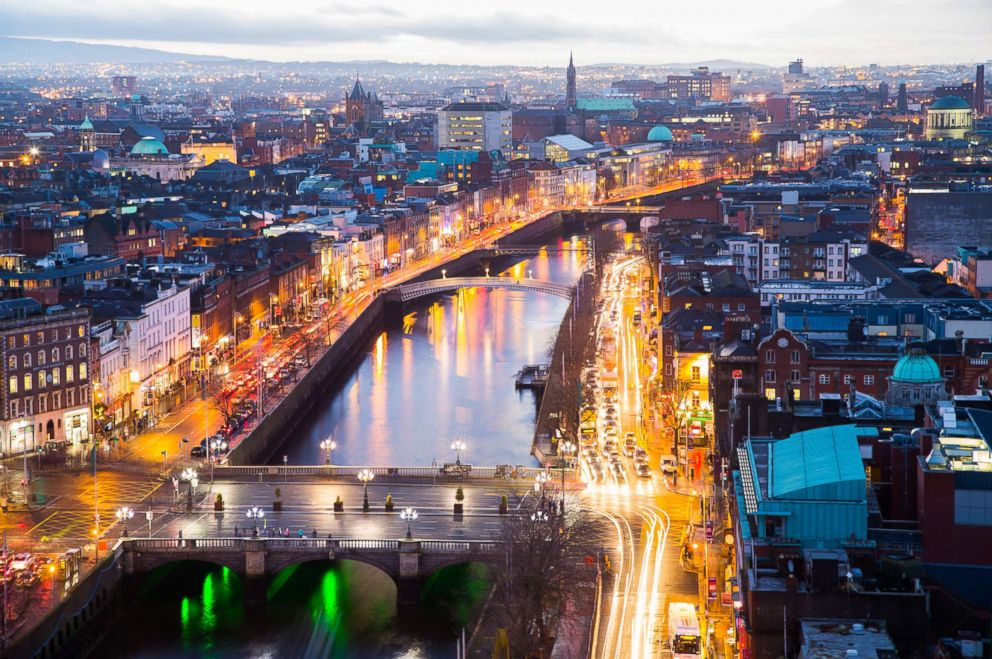 PHOTO: An aerial view of OConnell Bridge in Dublin City is captured in this undated stock photo.