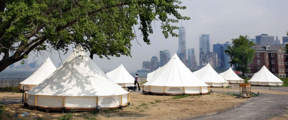 PHOTO: Collective Retreats Journey Tents sit on Governors Island in New York, July 3, 2018.
