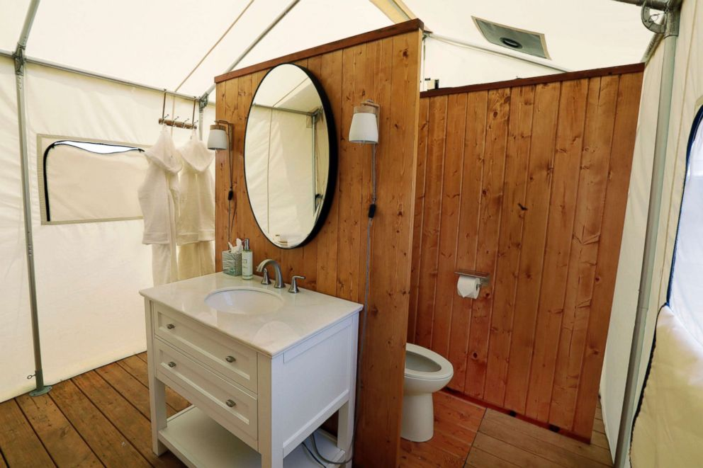 PHOTO: The private bathroom of one of Collective Retreats Summit Tents is shown on Governors Island in New York, July 3, 2018.