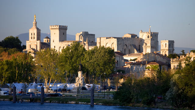 PHOTO: A view of the Palais des Papes listed as World Heritage by UNESCO and Notre Dame des Doms Cathedral, Vaucluse, Avignon, France.