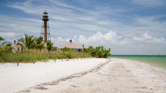 PHOTO: The beach near Sanibel Lighthouse on Sanibel Island, Florida.
