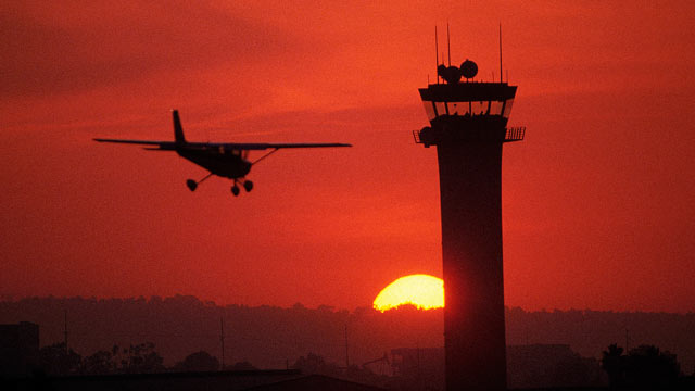 PHOTO: A plane is shown landing at Long Beach Airport, in Long Beach, Calif.