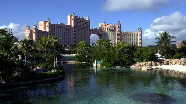 PHOTO: The Royal Towers hotel of Atlantis is surrounded by saltwater lagoons full of fish that can be seen from underground as well as from above on Paradise Island in Nassau, Bahamas.