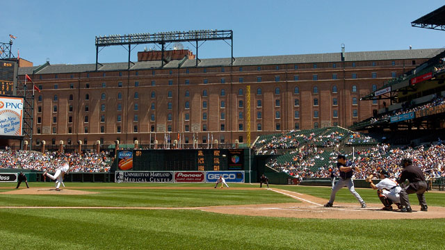 PHOTO: Steve Trachsel #41 of the Baltimore Orioles pitches to Grady Sizemore #24 of the Cleveland Indians on May 7, 2007 at Oriole Park at Camden Yards in Baltimore, Maryland.