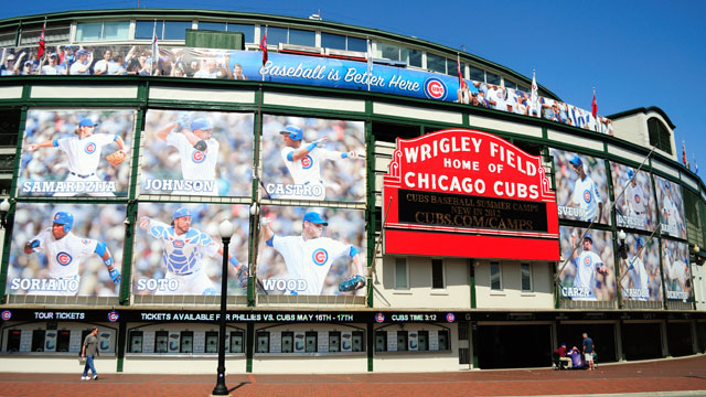 """PHOTO: Wrigley Field, Chicago. Built in 1914, the Windy City's iconic """"friendly confines"""" has witnessed many memorable moments in baseball, including Babe Ruth's famous """"called shot."""""""