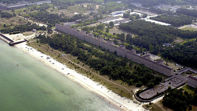 "PHOTO: An aerial view of the 4.5 kilometers long so-called ""colossus of Ruegen""-complex in Prora on the Baltic Sea island Ruegen."