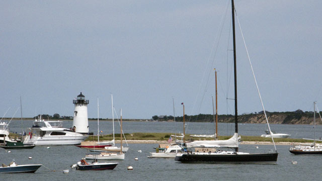 PHOTO: The Edgartown Lighthouse is surrounded by boats on August 1, 2010 on Martha's Vineyard, MA.