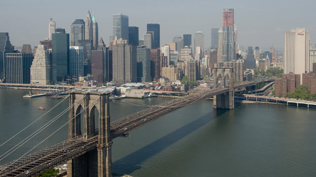 PHOTO: The Brooklyn Bridge, lower Manhattan and East River are seen in this view of the New York City skyline from the air in a helicopter above New York, April 22, 2010.