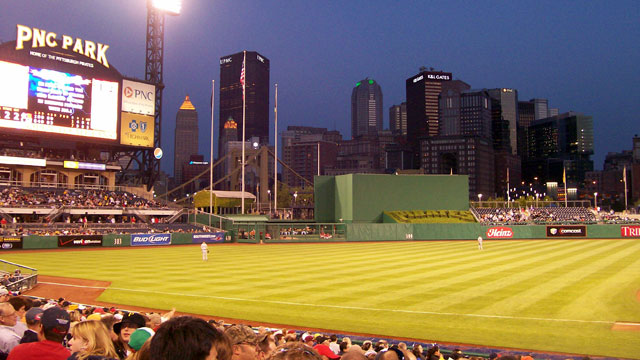 PHOTO: PNC Park, Pittsburgh, Penn. Perched along the Allegheny River, this renowned ballpark features spectacular sights of the Steel City skyline and the beautiful Clemente Bridge.