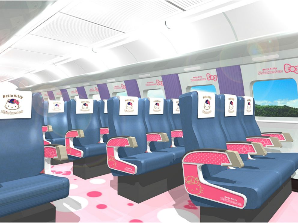 PHOTO: A Hello Kitty-themed train in Japan will feature a souvenir shopping area, a rest area, a video viewing area and a photo op area.