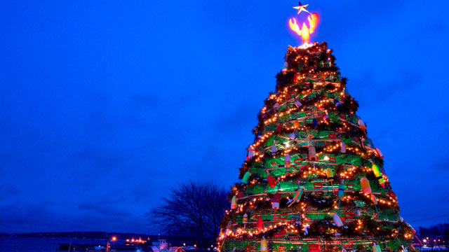 PHOTO: Another unique tradition, the lobster trap Christmas tree isn't something you're likely to spot outside a few New England fishing villages.