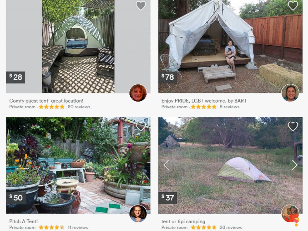 PHOTO: Users on Airbnb can search for tents to stay in, such as these four listings for tents in the Mountain View, California, area.