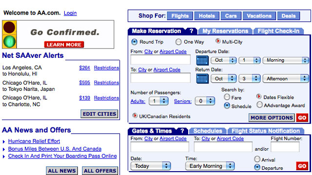 PHOTO: An archive image of American Airlines website from 2005, shows low airfare compared to recent prices.