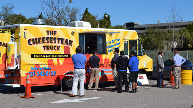 PHOTO: The Cheesesteak Truck can be found at Tampa International Airport once every week. The airports food truck pilot program was extended after a 30-day trial and will be in place until at least August 2013.