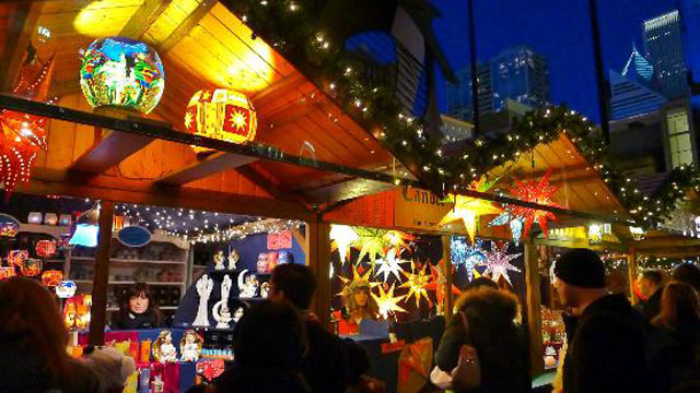 photo a german style christmas market is shown in chicago
